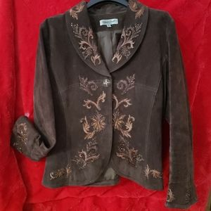 Women's Coldwater Creek brown leather jacket